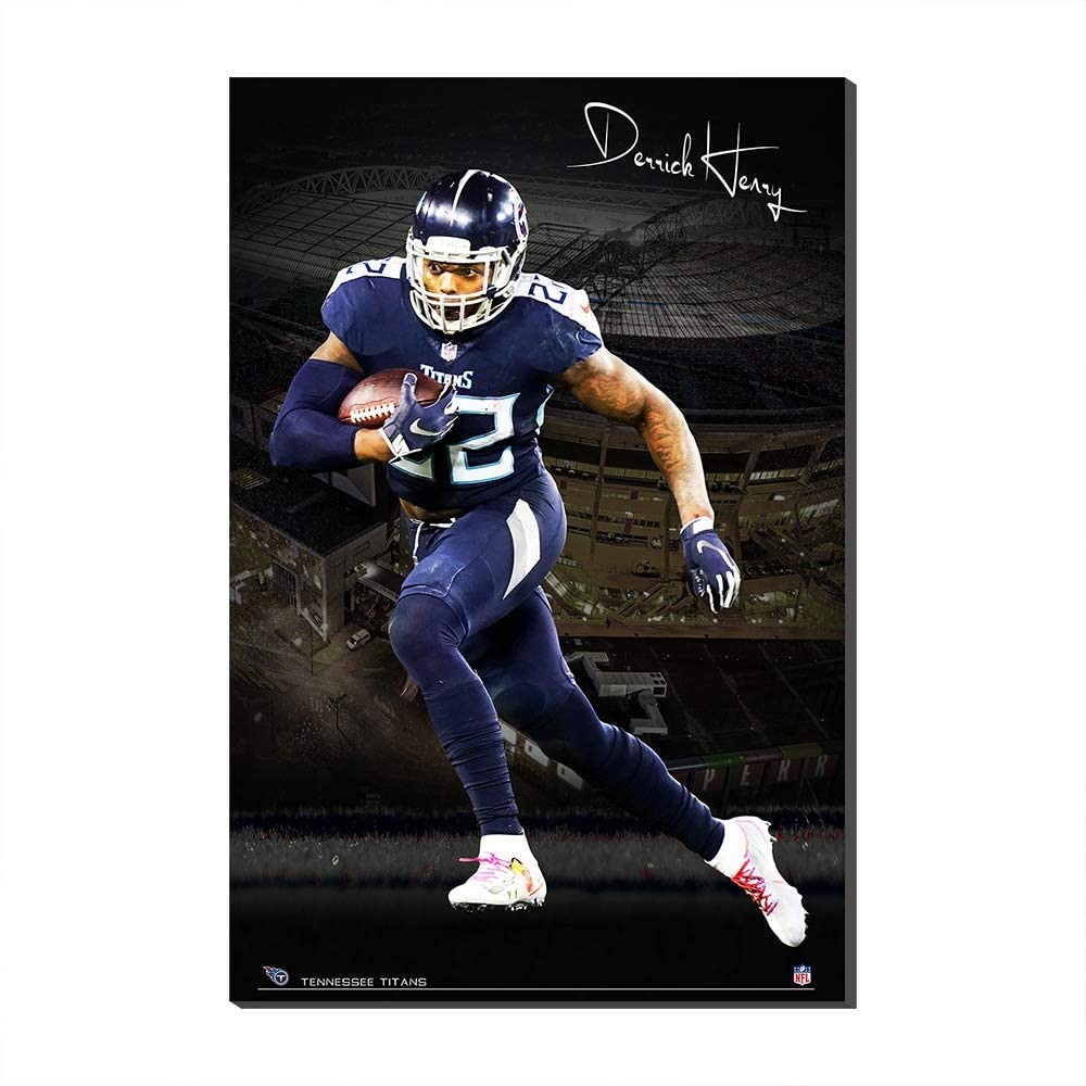 1 Panel NFL Super Bowl Wall Poster Canvas Prints Tennessee Titans Derrick Henry Wall Poster Canvas Prints Fans Gift (Frame,60x90cm)