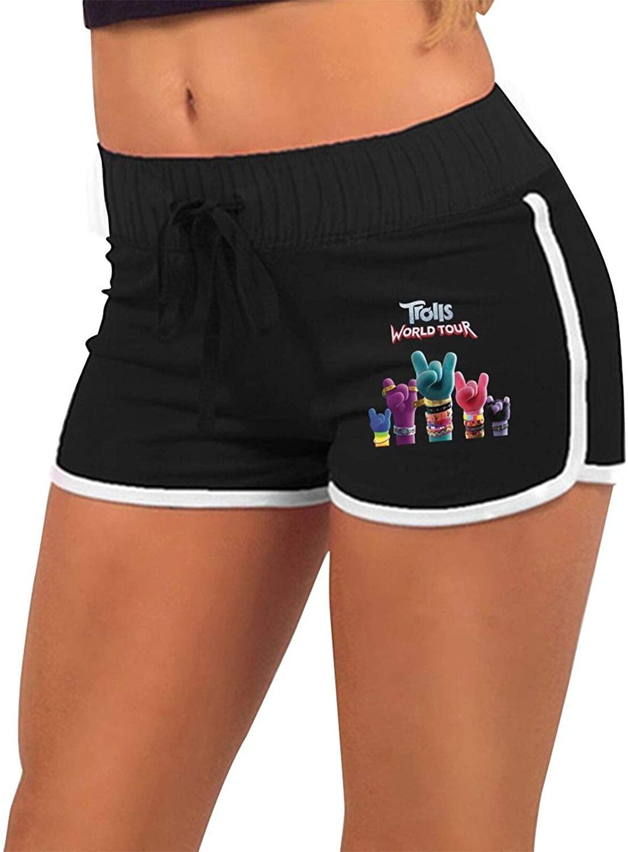 Trolls World Tour Women's Workout Yoga Low Waist Hot Pants-Cheerleader Dance Volleyball Short Pants Black
