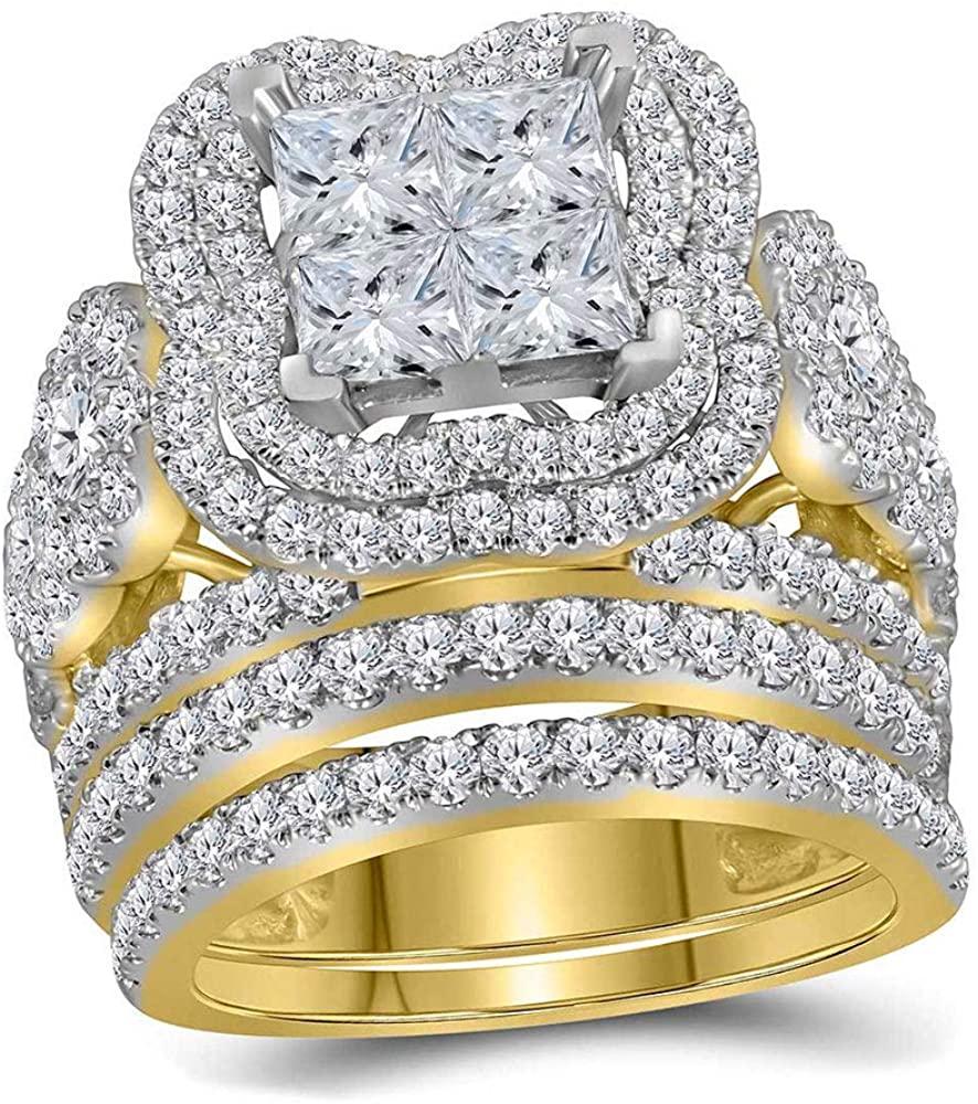 Diamond2Deal 14kt Yellow Gold Princess Diamond Bridal Wedding Ring Band Set 5 Cttw