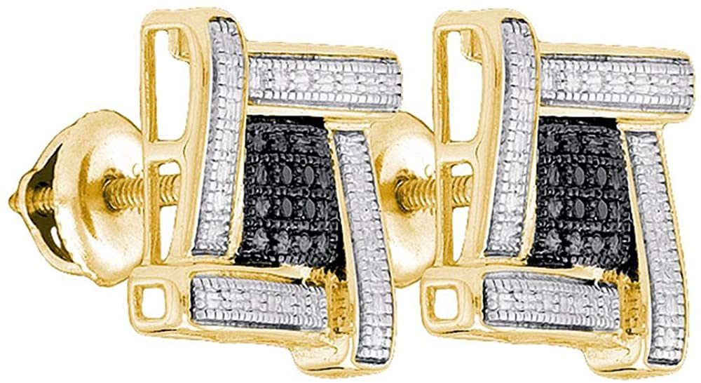 The Diamond Deal Yellow-tone Sterling Silver Mens Round Black Color Enhanced Diamond Square Cluster Earrings .03 Cttw