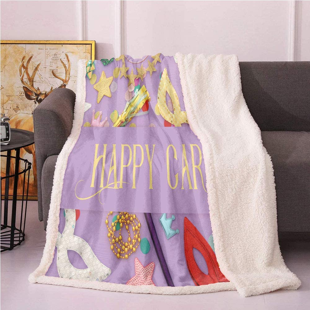 Mardi Gras Plush Blanket,Party Themed Happy Carnival Lettering on Beads Stars and Photo Light Thermal Blanket,car Fuzzy Blanket(60x80,Mauve and Multicolor)