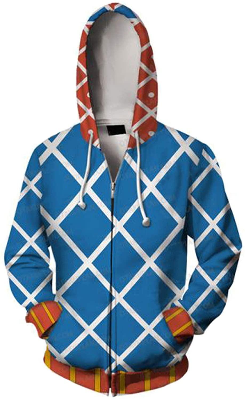 PartyCos JoJo's Bizarre Adventure Hoodie Guido Mista Cosplay Costume Zipper Up Hooded Jacket Sweatshirt
