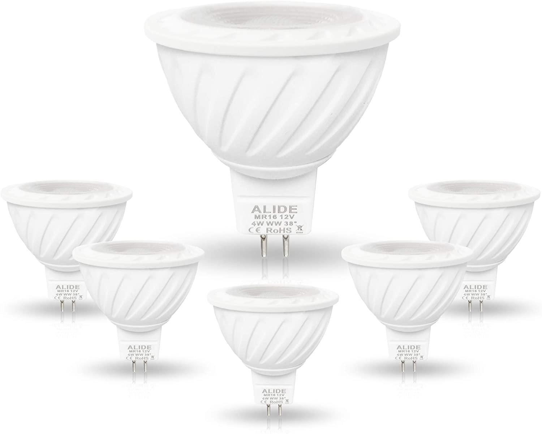 ALIDE MR16 LED Bulbs 4W 3000K Soft Warm White,30W 40W Halogen Replacement,GU5.3 12V Low Voltage MR16 Led Spotlight Bulbs for Outdoor Landscape Indoor Track Recessed Track Lighting,350lm,38Deg,6Pack