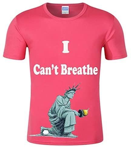 QYA Classic Fit I Can't Breathe T-Shirt USA T-Shirt Summer T-Shirt Clothes Cottom T-Shirt Man T-Shirt Women T-Shirt Girl T-Shirt boy T-Shirt Lightweight (Color : Pink 1, Size : XXXL)