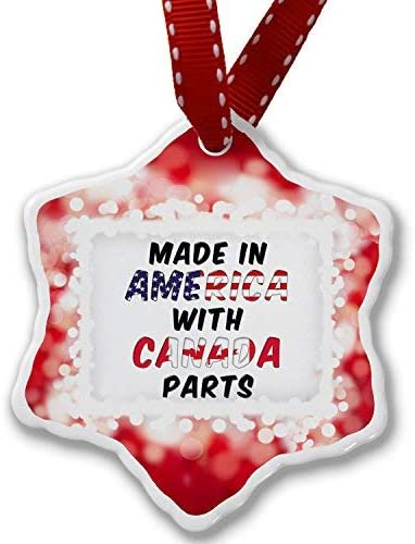 VinMea Christmas Ornament Made in America with Parts from Canada, red - Xmas Snowflake Ornament Porcelain Ornaments