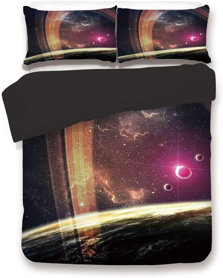 Black 3pc Bedding Set,Deep Space Planets Over Nebula Dust Stars and Halo Ring Science Fiction Art King Size Duvet Cover Set,Printed Comforter Cover with 2 Pillowcases for Teens Boys Man