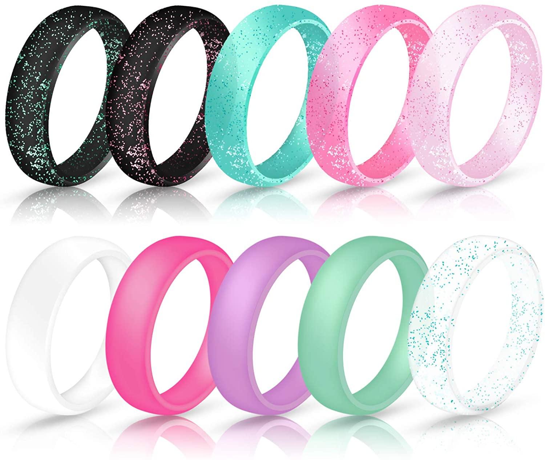 Ninge width Silicone Wedding Rings for Women,Glitter blingbling Design,5.7mm Wide Size 4 5 6 7 8 9 10 - 10 Pack