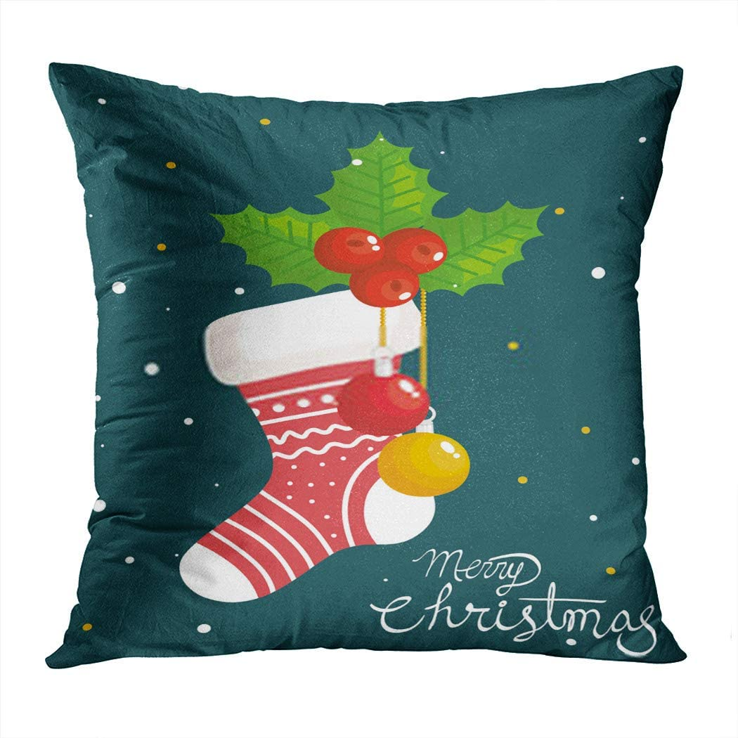 Zomike Throw Pillow Cover Square 396 x 18 Inch Merry Christmas Sock Socks Festive Celebration Cushion Home Decor Sofa Bedroom Office Polyester Pillowcase