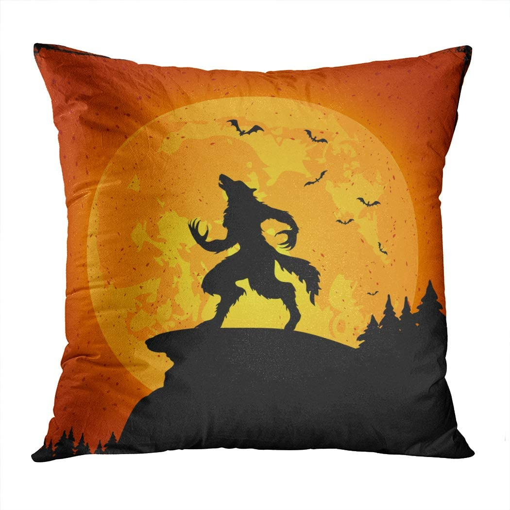 Vooft Throw Pillow Decor Square 16 x 16 Inch Halloween Grunge Background Werewolf Orange Moon Decorative Cushion Cover Printed Pillowcase Cover Home Sofa Living Room