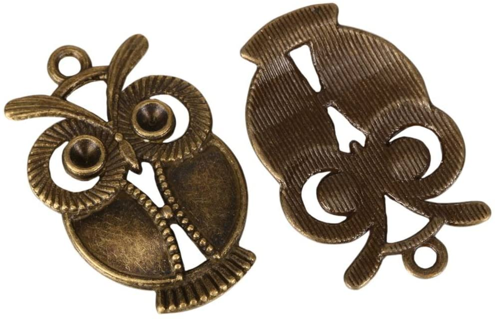 10 x Owl Charms 30x21mm Antique Bronze Tone | One Sided Charm Pendants #MCZ239
