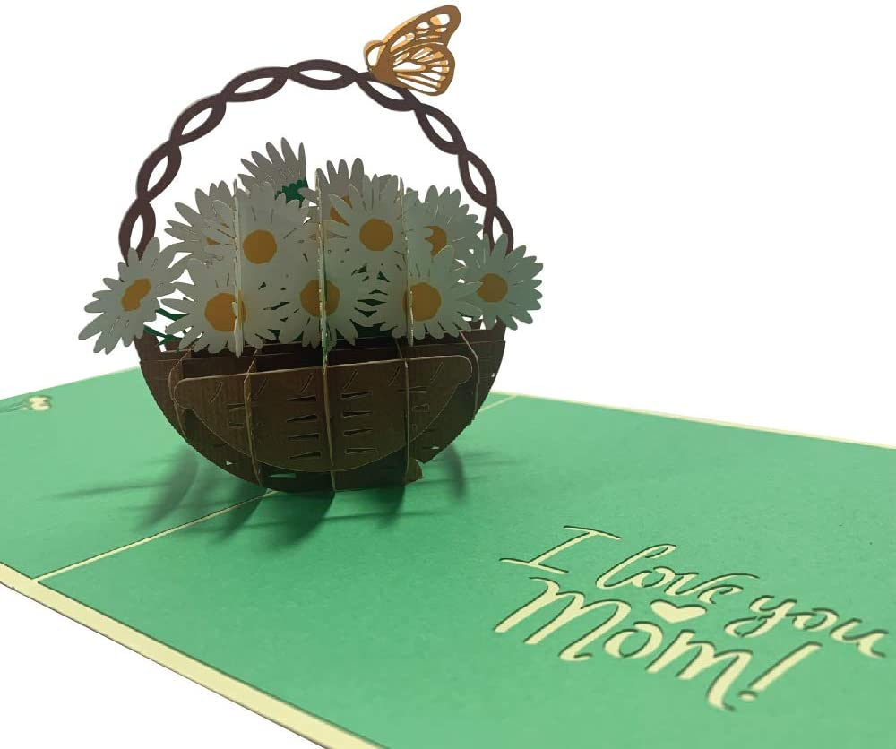 Grepaco 3D Pop Up Cards - 3D Card For Wife, Mom, Father, Birthday, Greeting, Valentines Day, Graduation, Wedding, Anniversary, All Occasion (Butterfly on Daisy Basket)