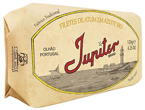 Jupiter from Portugal - Gourmet Canned Tuna Fillet in Biologic Olive Oil - 4.23oz / 120gr (Pack of 3 cans)