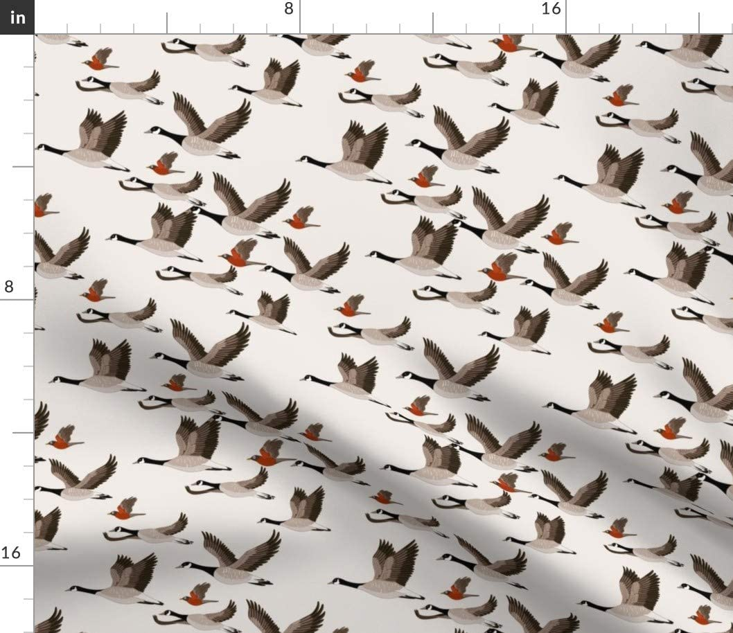 Spoonflower Fabric - Birds Geese Canada Robins Fall Pattern Printed on Cotton Spandex Jersey Fabric by The Yard - Fashion Apparel Clothing with 4-Way Stretch