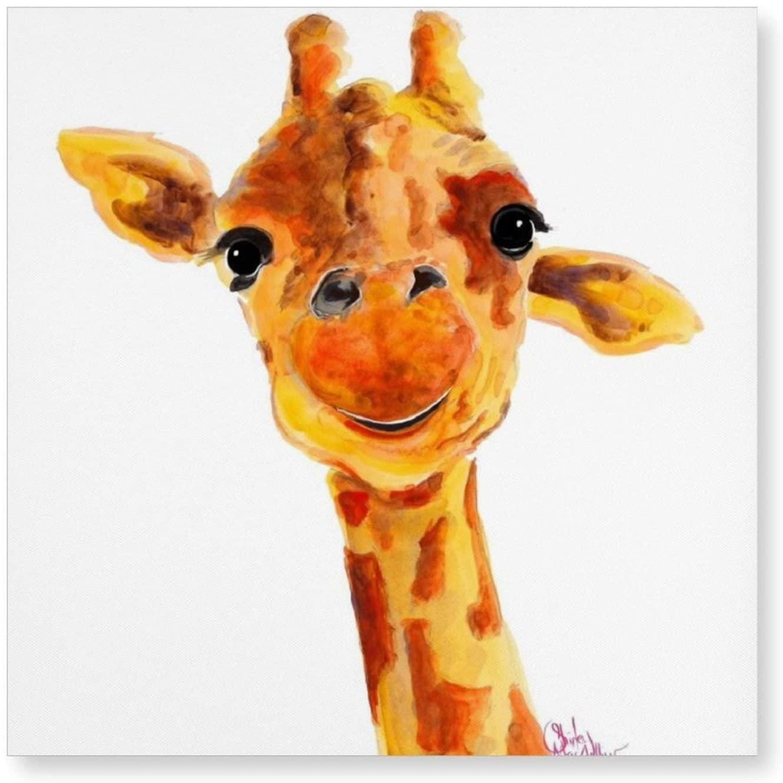 Giraffe Zoo Animal Prints  Tommy  Giraffe Gifts by Shirley MacArthur Wall Art Painting Art Decoration Living Room Bathroom Bedroom Home Decoration(7.9x15.7)(15.7x15.7)