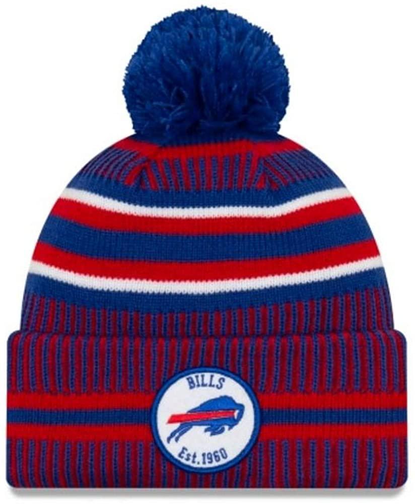 New Era 2019 NFL Buffalo Bills Cuff Knit Hat Home OTC Beanie Stocking Cap Pom Royal/Red