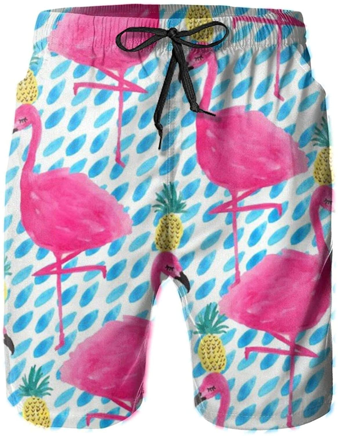 Flamingos and Pineapples Men's Shorts,Men's Swim Trunks Swimwear Shorts with Mesh Lining and Pockets White