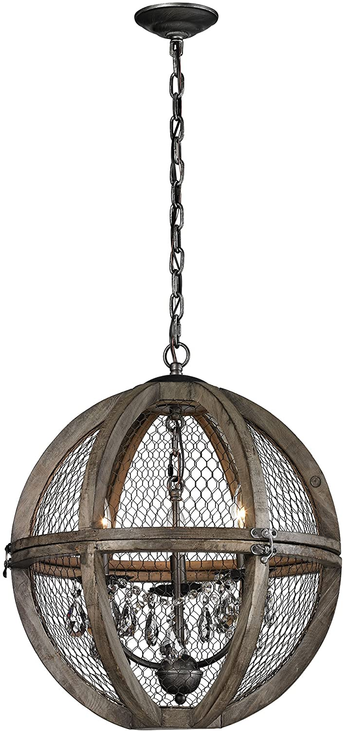Elk Home 140-007 Renaissance Invention - Three Light Small Chandelier, Aged Wood/Bronze Finish with Metal Wire Mesh Shade with Clear Crystal