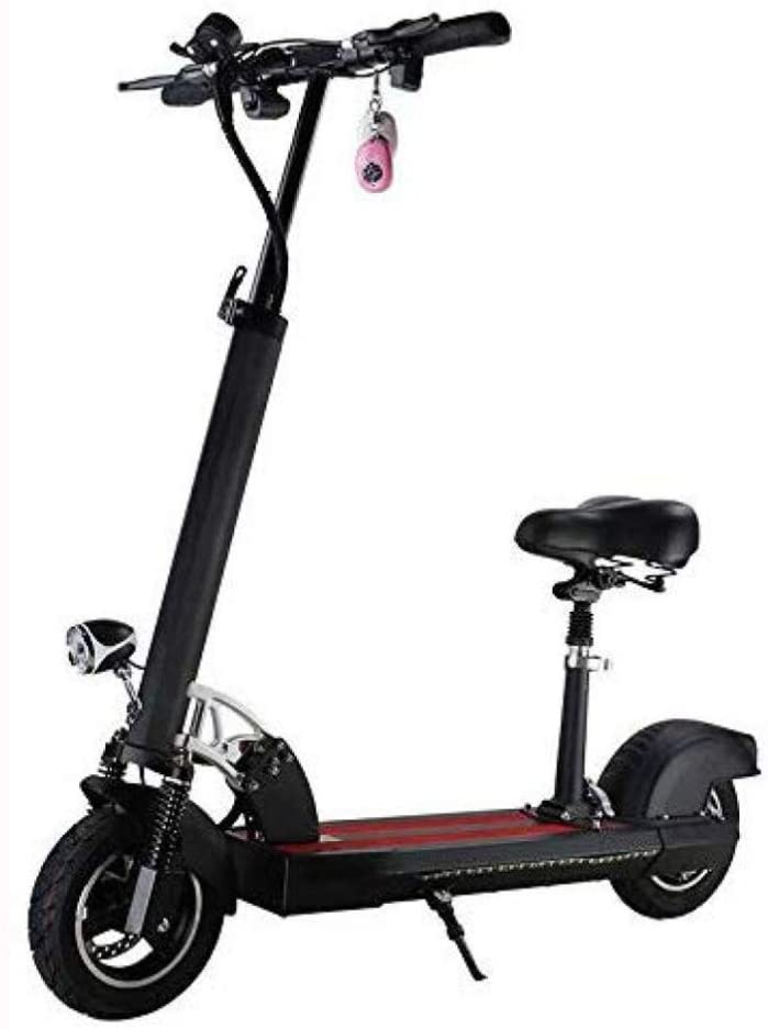QX Scooters Electric Bikes Electric Scooter Foldable Adjustable Electric Scooter with Seat 400W 48V 40Km/H, Electronic Kick Scooter Vehicle with Lithium Battery USB LCD Display Led Lights on Table fo