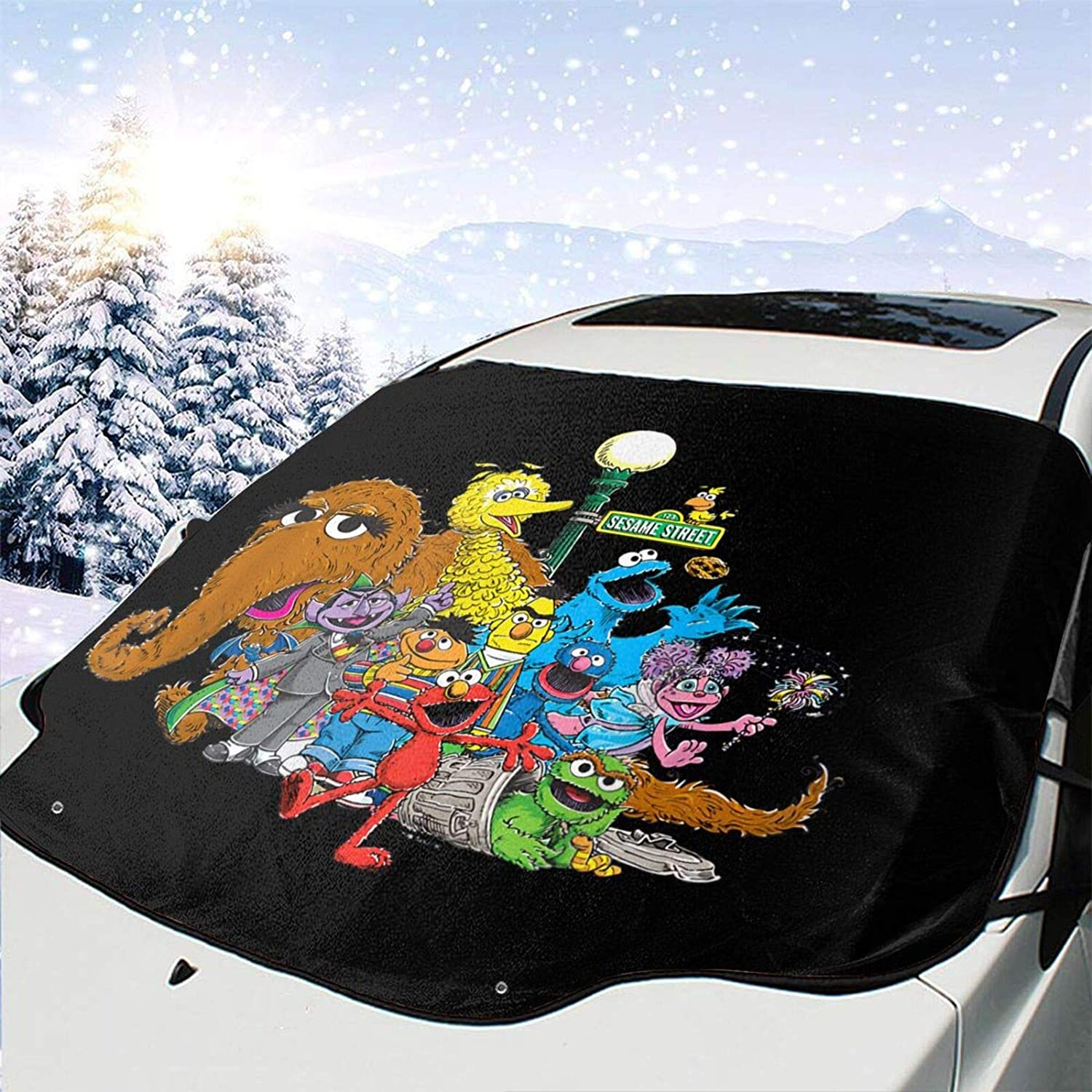 Namikshop Sesame Street Squad Windshield Snow Cover, Windshield Shade Cover with 4 Layers Protection, Car Windshield Snow Cover for Ice, Snow and Frost
