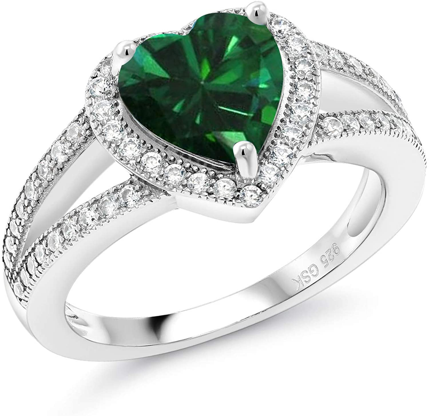 Gem Stone King 925 Sterling Silver Green Simulated Emerald Women Engagement Ring (2.21 Ct Heart Shape 8MM, Available in size 5, 6, 7, 8, 9)