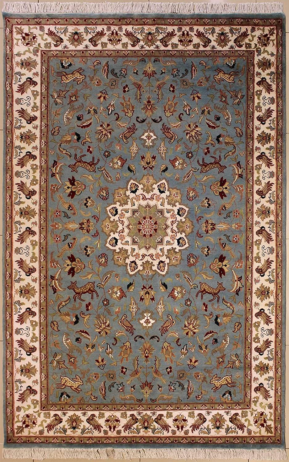 RugsTC 5'1 x 8'3 Pak Persian Area Rug with Silk & Wool Pile - Pictorial Hunting Shikargah Design   100% Original Hand-Knotted in Greenish Blue,Ivory,Beige Colors   a 5x8 Rectangular Rug