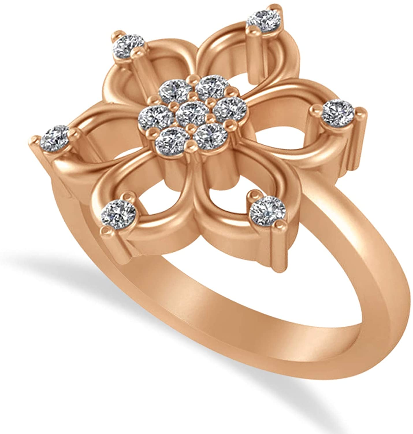 Allurez Diamond Six-Petal Flower Ring/Wedding Band 14k Rose Gold (0.26ct)
