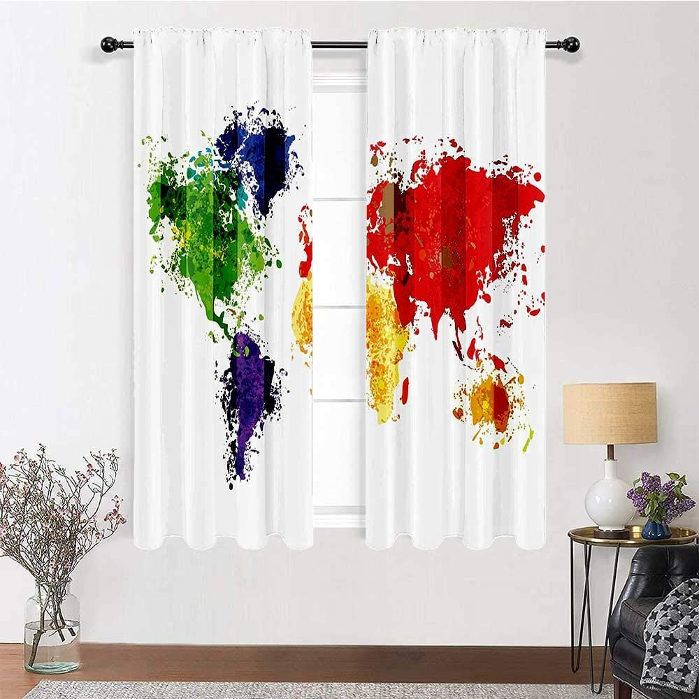Interestlee Living Room Curtains Map Decor Cute Drapes Abstract Colorful World Map Illustration on White Background Print 2 Panels 96