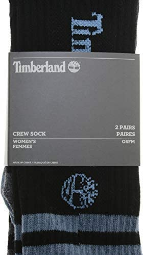 Timberland Women's Striped Ribbed Crew Socks - Pack of 2 (Black/Grey/Blue) One Size Fits Most