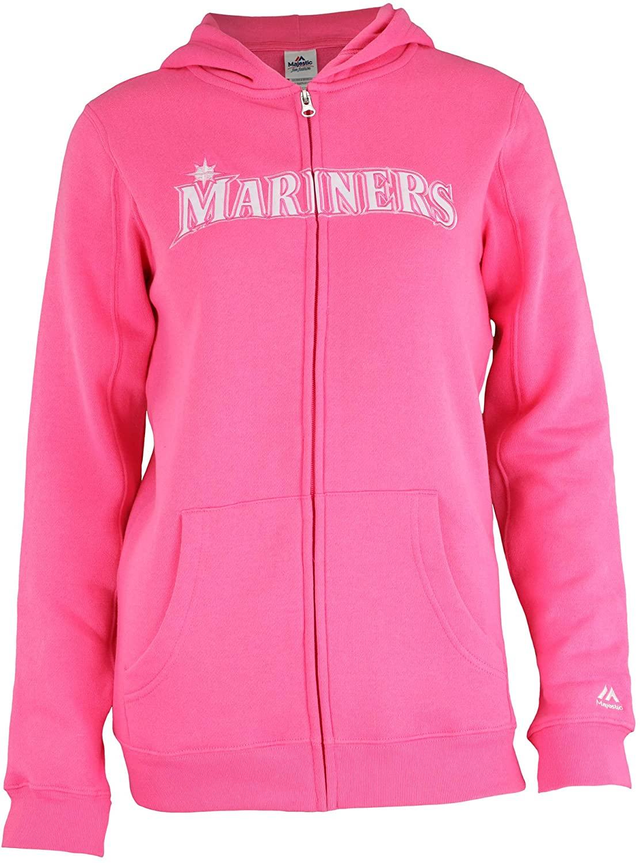 Outerstuff MLB Youth Girls (7-16) Seattle Mariners Pink Shutout Full Zip Hoodie