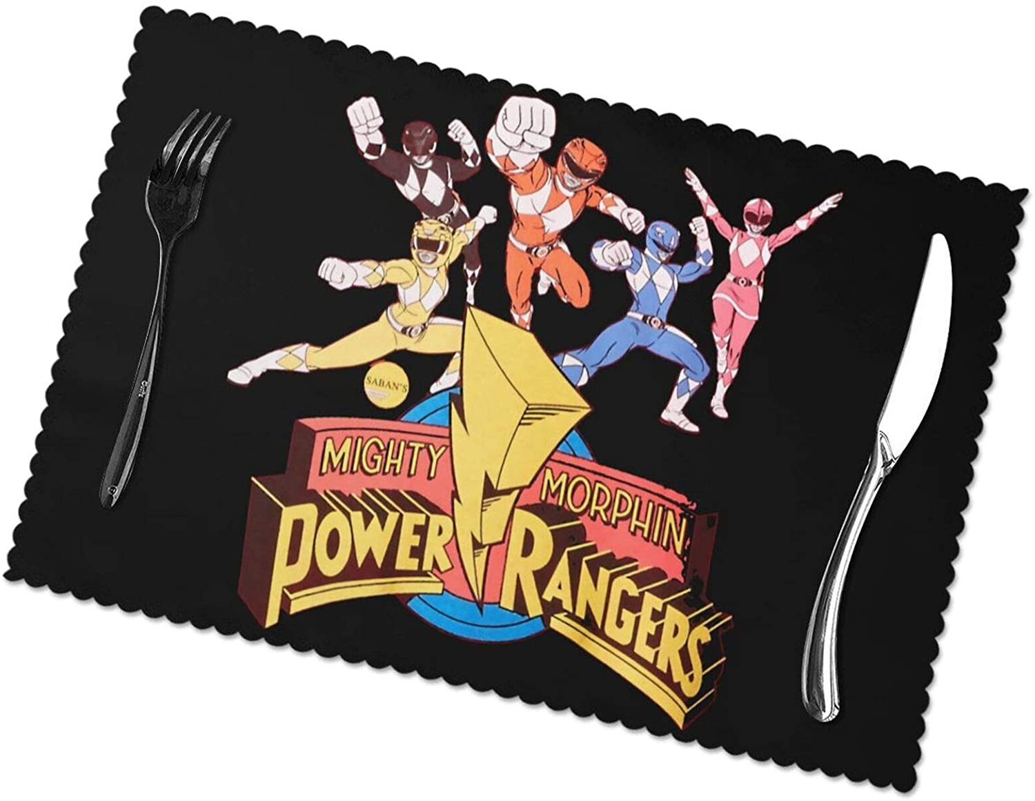 Shanion Power Rangers Placemats, Stain Resistant Anti-Skid Washable Table Mats Placemats, Set of 6