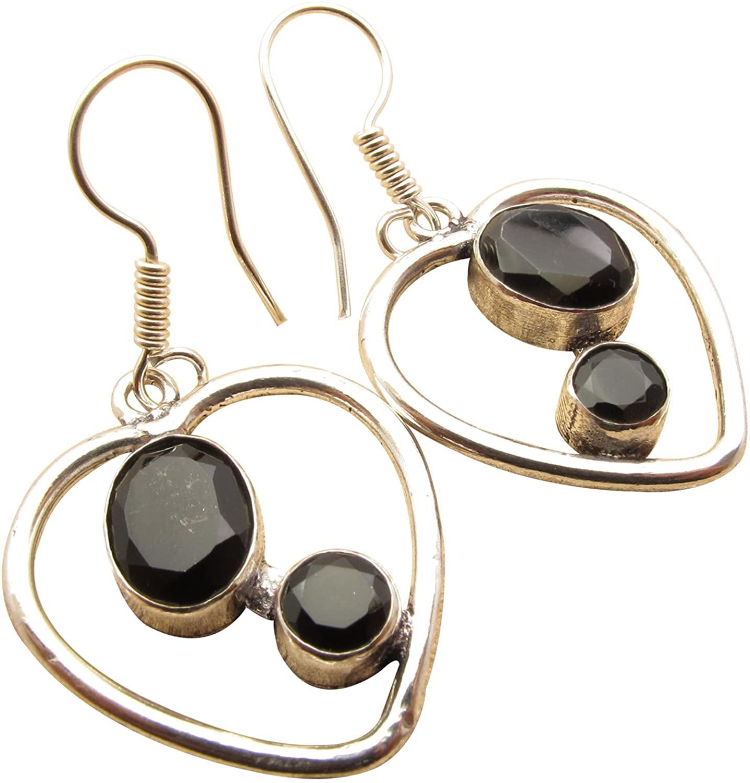 CUT BLACK ONYX 2 Gemset Heart Modern Earrings ! 925 Sterling Silver Plated Fashion Jewelry Store