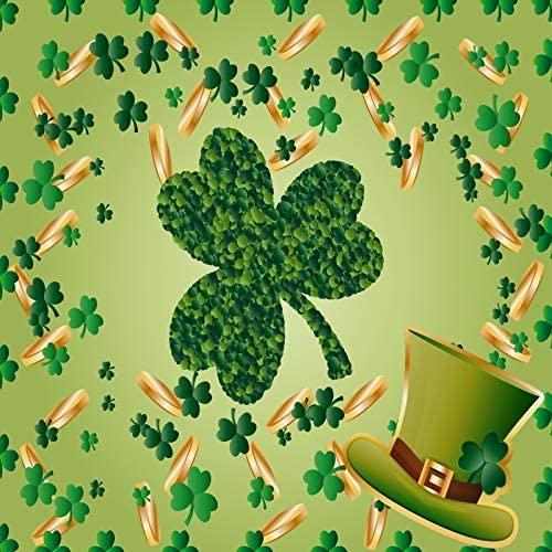 5x5ft Lucky Irish Shamrock Photography Background Leprechaun Hat Green Shamrocks Green Clover Gold Coin Festival Event Decoration Artistic Portrait Photography Backdrop Video Wallpaper