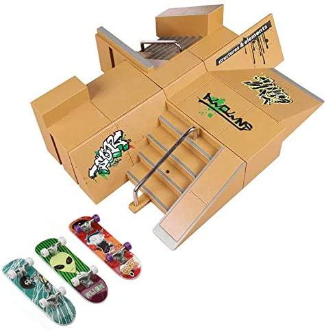 ideallife Skate Park Kit, Skate Park Kit Ramp Parts for Finger Skateboard Fingerboard Ramp Skate Park Kit Part Training Props with 3 Finger Skateboard(8PCS)
