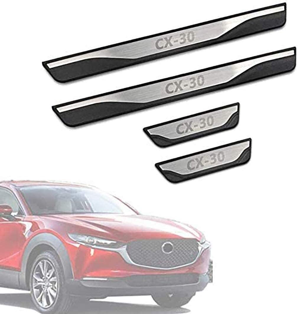 AMDHZ 4Pcs Stainless Steel Door Sill Scuff Plate, for Mazda Cx-30 Cx30 Cx 30 2019 2020 Protectors Trim Kick Plates Guard Pedal, Threshold Bar Car Styling Accessory Car Threshold Protection Strip