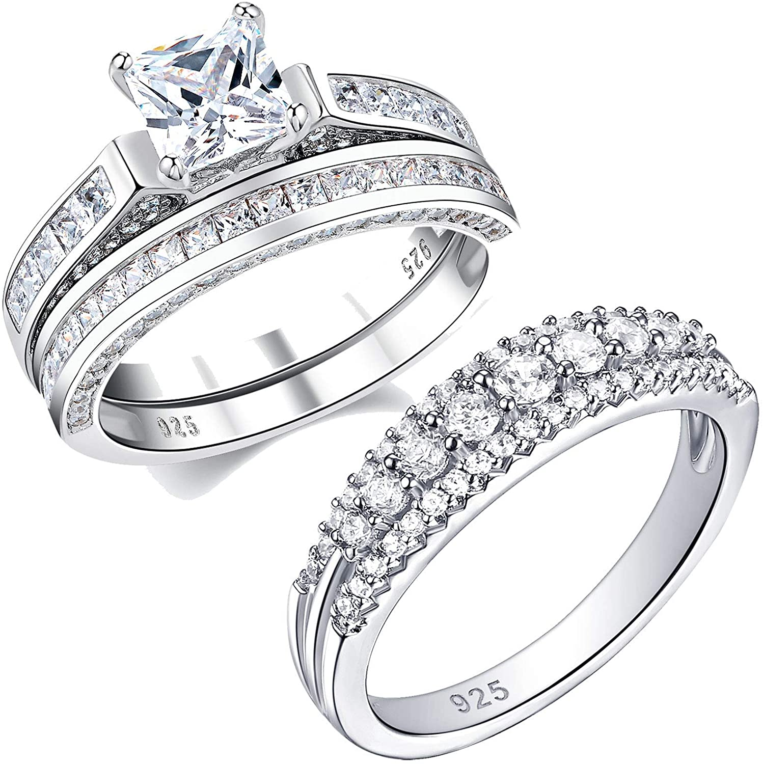 Wuziwen Wedding Rings for Women Cubic Zirconia Cz Sterling Silver Vintage Engagement Ring Bridal Set White Round Cz Eternity Rings 925 Sterling Silver Promise Wedding Band for Women Size 8.5