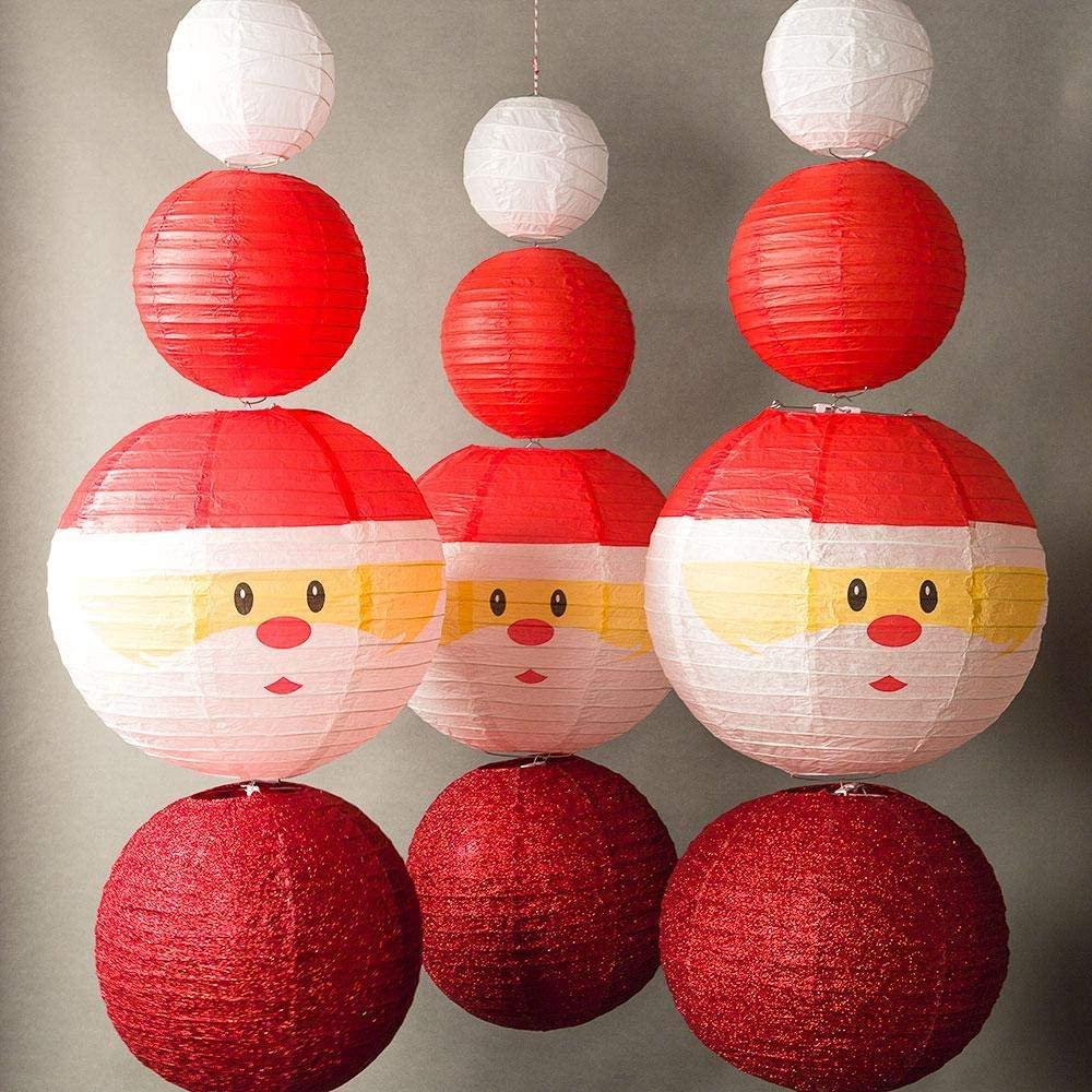 Quasimoon PaperLanternStore.com 12-pc Santa Claus Holiday Christmas Party Pack Paper Lanterns Combo Set