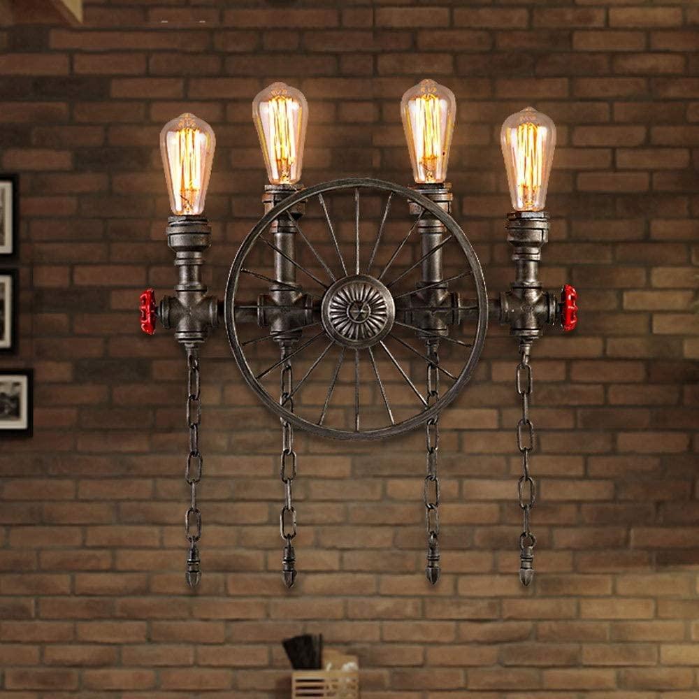 American Retro Wall lamp Loft Industrial Wall Light Iron Pipe Steampunk Wall Sconce E27 Creative Personality Restaurant bar Wall Spotlight (Size : L)