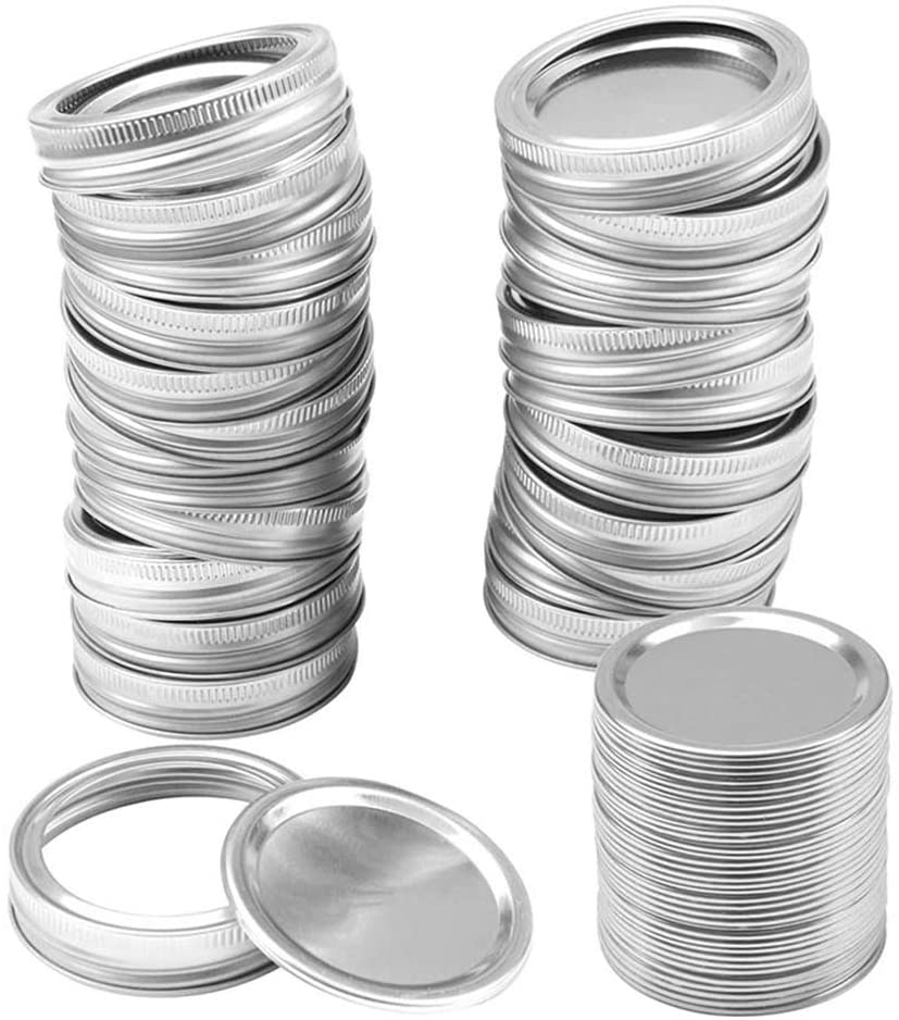 KATTOOL Regular Mouth Canning Lids Bands, Split-Type Leak Proof for Mason Jar Canning Lids with Rings Kitchen Food Container Covers (24pcs regular mouth lids and bands)