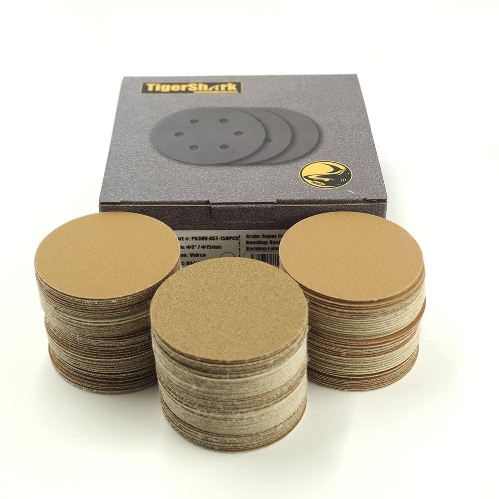 TigerShark 3 Inch Sanding Discs No Hole 50pcs Each of Grit 80 180 320 Special Anti Clog Coating Paper Gold Line Hook and Loop Dual Action Air Random Orbital Sander Paper