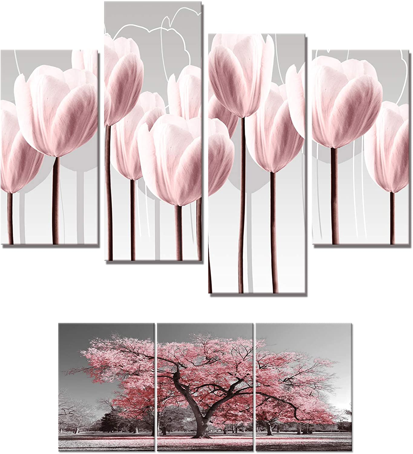 Visual Art Decor Canvas Prints Wall Art Pink Grey Tulips Flower and Tree Picture Decoration Ready to Hang