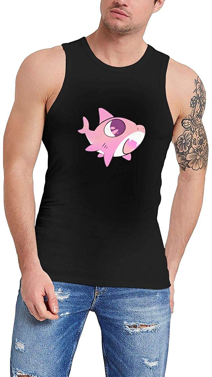 Cute Pink Shark Men's Premium Comfortable Sleeveless Tank Top T-Shirts