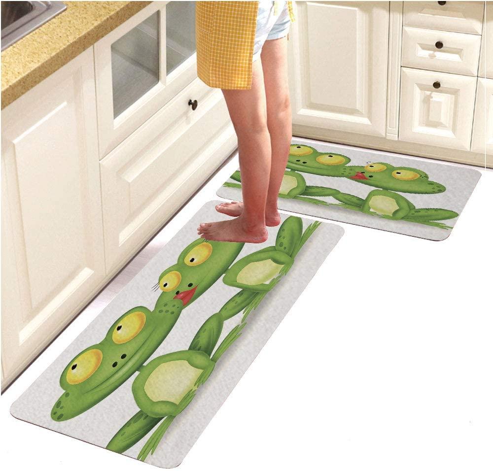 AngelSept Multi-Color Design Modern Runner Rug with Non-Skid Rubber for Living Room,Frog Cartoon Kissing (18x48+18x28)