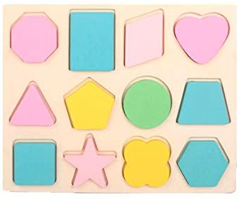 Preschool Early Development Educational Toys Wooden Shape Blocks Geometry Recognition Games for 1-3 Years Old Toddlers Babies Kids