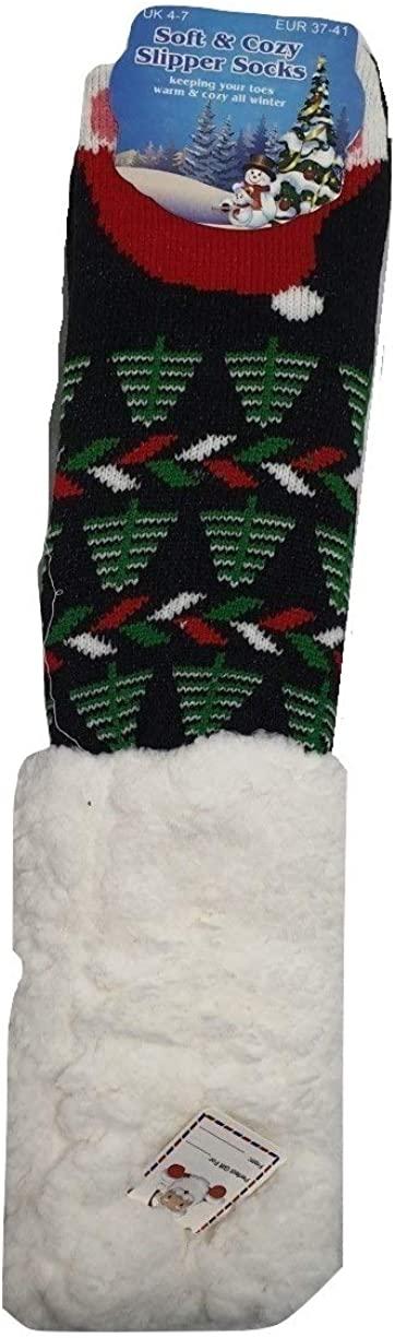 Ladies Warm Soft and Cozy Christmas Fleece Lined slipper Socks Reindeer Robin