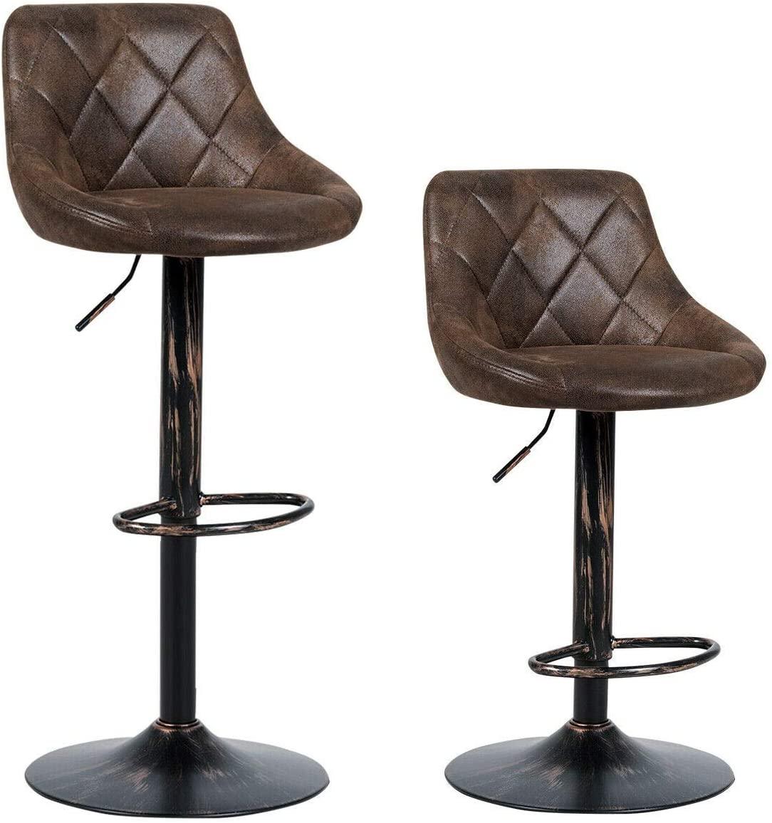 7DIPT Set of 2 Adjustable Bar Stools with Backrest and Footrest