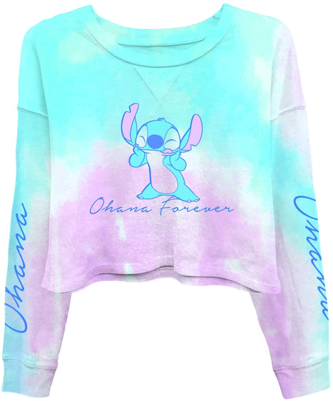 Ladies Lilo and Stitch Sweatshirt - Ladies Classic Lilo and Stitch Tie Dye Long Sleeve Skimmer
