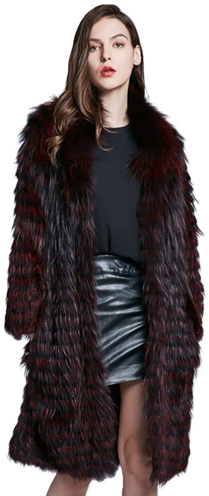 Real Fur Coat Women's Winter Warm Coat Furry Fox Hair Women Collar Round Neck Fashion 2018 New
