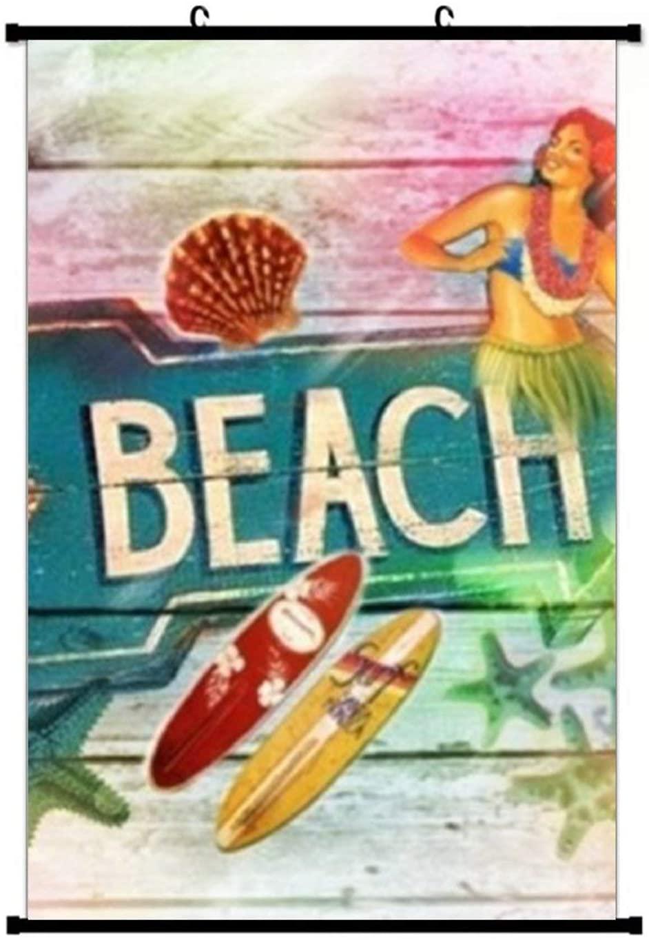 Rainbow Surfer Beach Hawaiian Posters Wall Art Prints Home Scroll Poster Wall Decor 16 x 24 inches