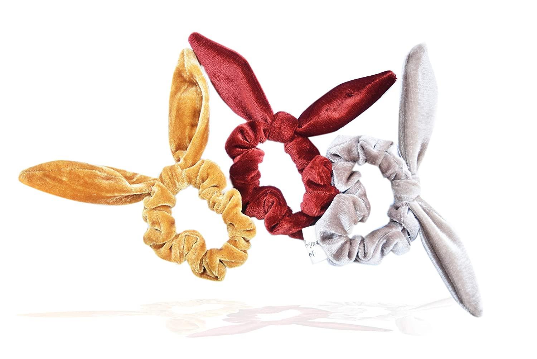 3 Pack Hair Scrunchies for Women Girls (Sienna Rabbit Ear scrunchies)
