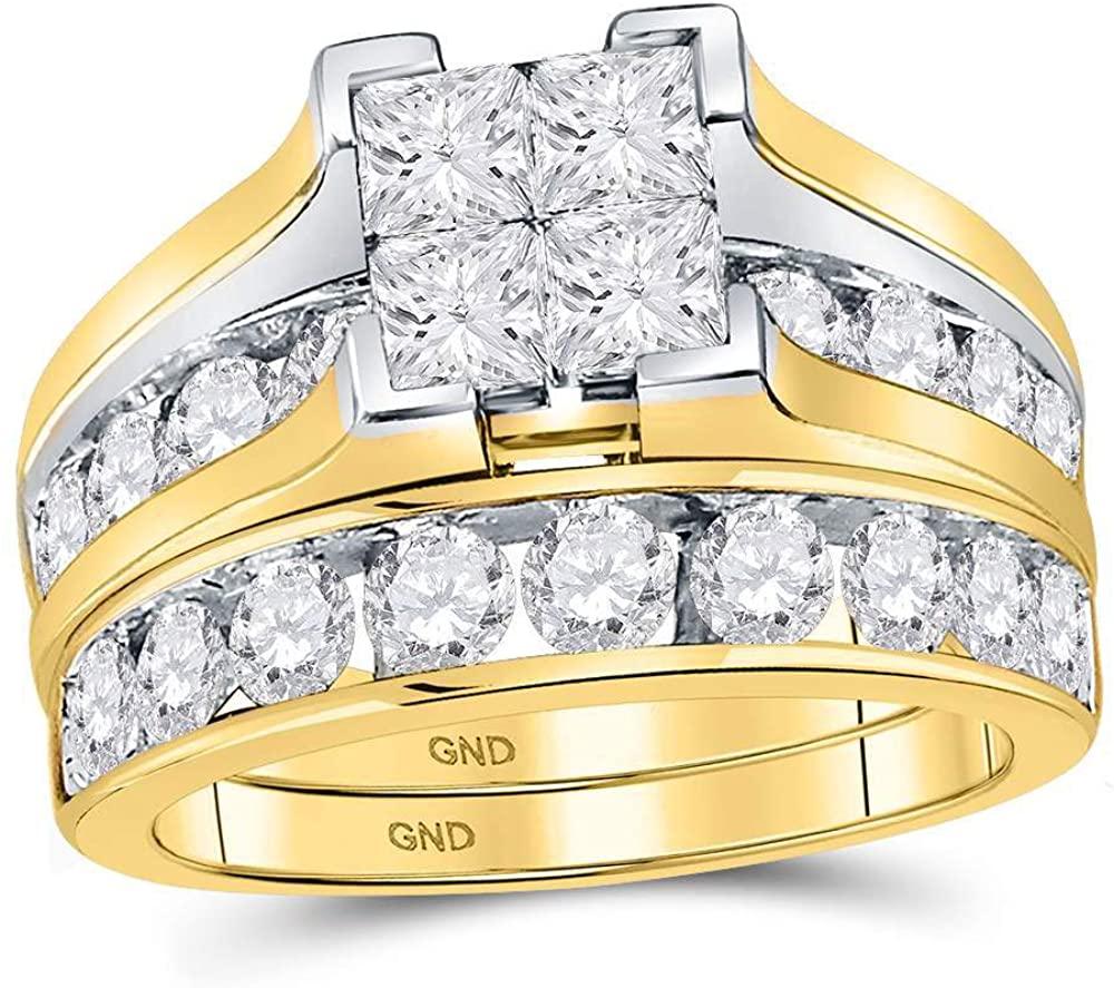 14kt Yellow Gold Princess Diamond Bridal Wedding Engagement Ring Band Set for Women 3.00 Cttw